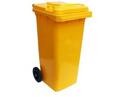 Бак для мусора пластиковый желтый 120л, 120A-9Y