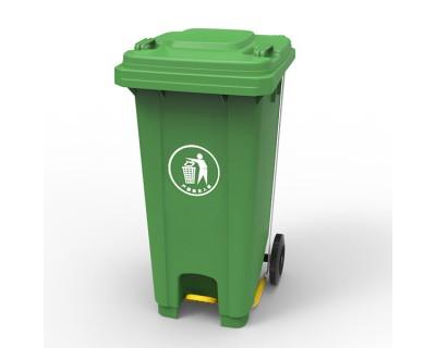 Бак для мусора c пластиковой педалью зеленый 120л, 20U-14G