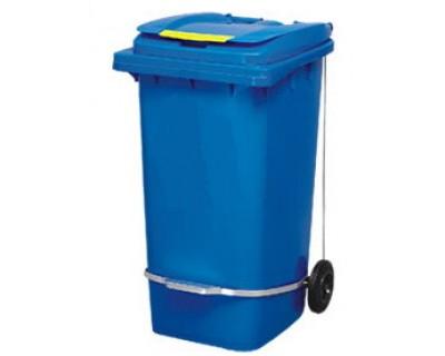 Бак для сміття пластиковий з педаллю, синій 240 л, 240A-11P2B