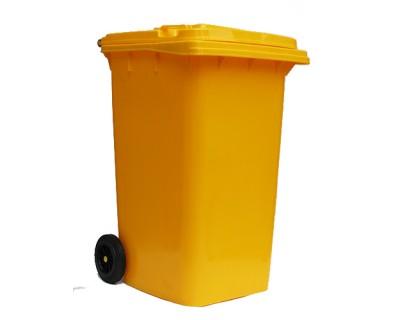 Бак для мусора пластиковый желтый 240 л, 240H2-19Y