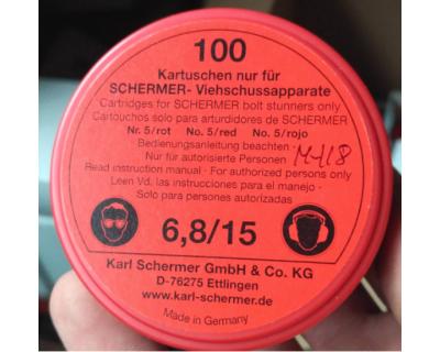 Патрони червоні холості Schermer калібр 6.8-15 (100 шт)